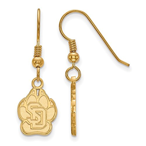 Sterling Silver w/ 14K Yellow Gold-Plated LogoArt Official Licensed Collegiate University of South Dakota (USD) Small Dangle Earrings by LogoArt