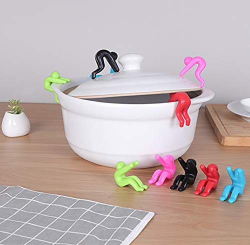 One Pair Useful Small People Shaped Tableware Lid Insert Rubber Inserts Convenient Cookware