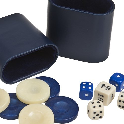 """Venus Deluxe Marbleized Pearl Type Backgammon Checkers from Greece, Dice & Two Dice Cups -Blue/Ivory 1 7/16"""""""