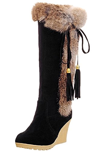 Black Hair WEIYIKANG Winter Tassels Boots Snow Women Mid on Pull Rabbit Wedge Boots Warm Shoes Calf Heel YxwYa4rq
