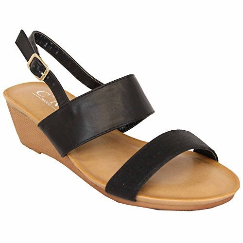 Toe Buckle Fashion MCM Heel Wedding Open Ladies Shoes 39924 Sandals On Slip Womens Wedge Black nxR8CAqxB