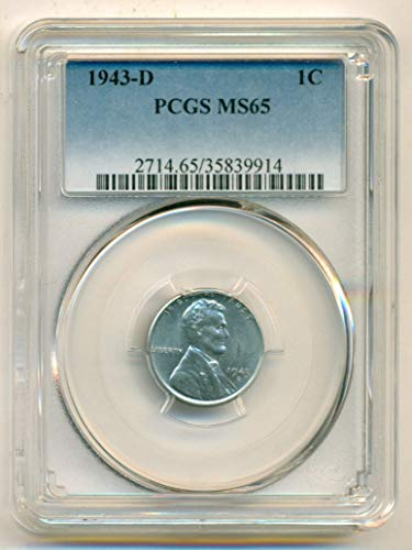1943 D Lincoln Wheat Steel Cent MS65 PCGS