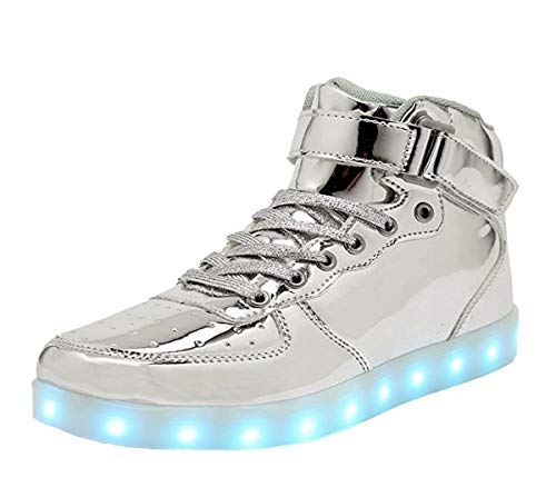 High Top LED Light Up Shoes USB Charging Sneakers For Men Women-42(silver) ()