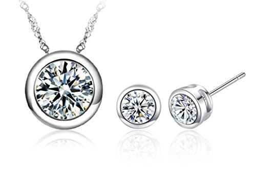Bezel Stud Necklace (Vaduga's New AAA Zircons Pendant Silver Necklace and Zircon Stud Earrings Jewelry Sets Antiallergic jewelry sets for women (Clear))