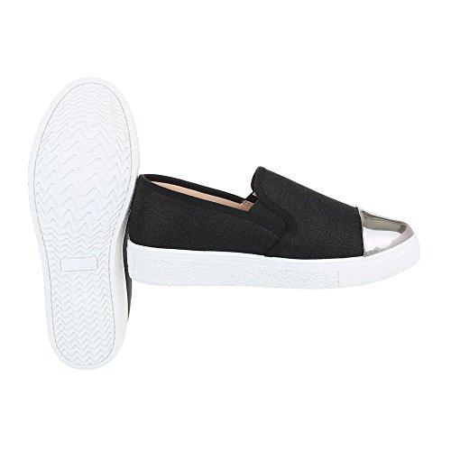 Ital-Design Sneakers Low Damenschuhe Sneakers Low Moderne Freizeitschuhe Schwarz Silber 086-Y