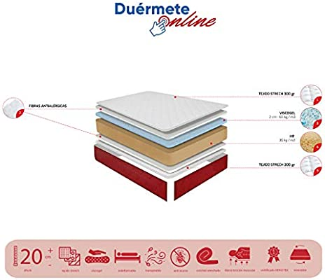 Duérmete Online - Colchón Viscoelástico Lite Reversible (a 2 caras), Muy Transpirable, Blanco, 80 x 180: Amazon.es: Juguetes y juegos