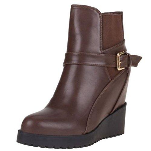 Schuhzoo - Damen Keilabsatz Stiefeletten Boots Wedge mit Schnallen Braun