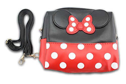Finex Minnie Mouse Bow Ears Polka dots Cosmetic bag Handbag w/ Detachable Strap - Multifunction Zippered Travel Makeup Purse (Rectangular, Red/Black) Bow Cosmetic Bag Handbag