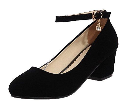 Zapatos Tacón Medio De Mujeres Aalardom Sólido Sintético Puntera Tacón Tsmdh001912 Redonda Negro Hebilla qF1ZF