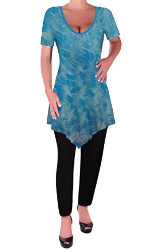 Eyecatch T Tops Myst Ourlet Keira Shirt Chemisier Turquoise Dye Dames Femmes Tunique Evas Col V Tye Aux En vvc7P6rp