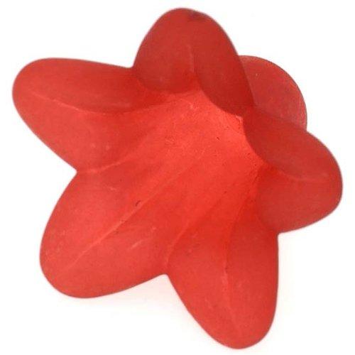Lucite Petunia Bell Flower Beads Matte Dark Red 12x18mm (6)