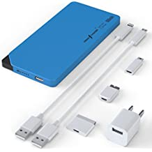 PermaCharger Portable Ultra-Thin 8,000 mAh USB Power Pack for iPhone/Android/Tablet/Many Other Devices. Built-In Micro&Male Adapter w/ 5 FREE Cellphone Cables & 1 Wall Adapter