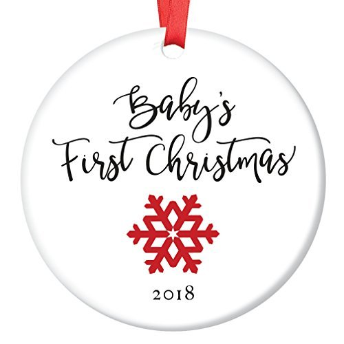 (restore2a Baby's First Christmas Ornament 2018, New Baby Snowflake Porcelain Ceramic Ornament, 3 inch Flat Circle Calligraphy Christmas Ornament)