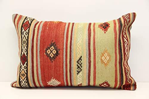 (Decorative kilim pillow cover 16x24 inch (40x60 cm) Trendy large Lumbar Kilim pillow Chevron Pillow)