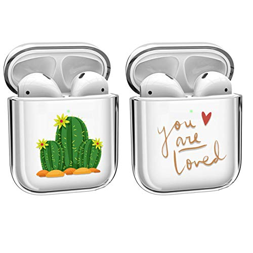[2 PACK] Pure Clear Compatible with Apple AirPods 1 & AirPods 2 Charging Case, [Front LED Visible] Protective PC Hardshell Protective Shockproof Skin Earbuds Case Cover Skin Accessories,cactuses+loved
