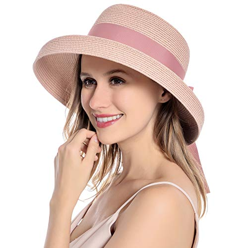 Muryobao Womens Sun Straw Hat Summer UV Protection Travel Foldable Brim Bucket Hat Vintage Cloche Beach Fishing Cap