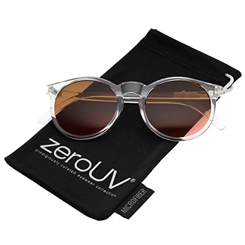 zeroUV - Modern Translucent Frame Gradient Color Lens Round Horn Rimmed Sunglasses 49mm (Clear / - Translucent Sunglasses