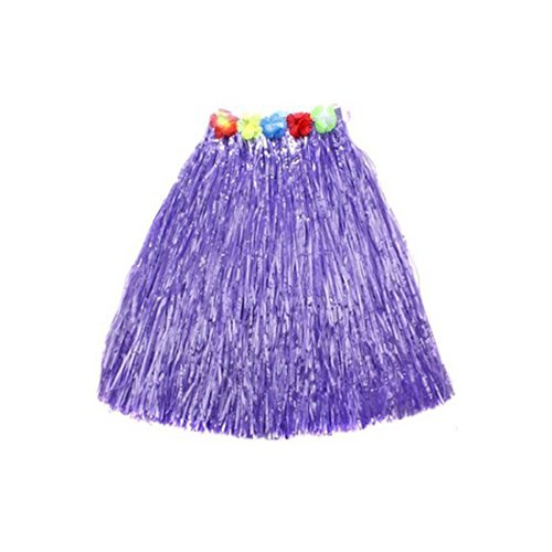 [Kid's Plastic Luau Hula Skirts Floral Waistbands Party Skirts Artificial Grass (Purple)] (Tahitian Dancers Costumes)