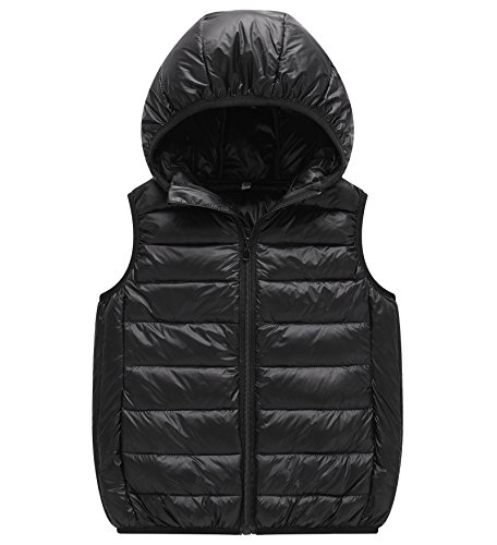 Unisex Vest (Big Girls And Boys Unisex Winter Jacket Vest With Hooded Puffer Down Vest 5-6Years Black)