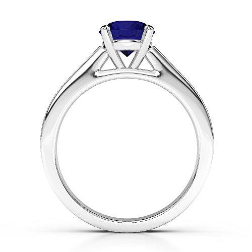 Or blanc 18carats 1CT G-H/VS sertie de diamants Saphir de coupe ronde et bague de fiançailles Agdr-1222