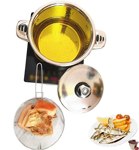 6QT Deep Fryer Set Stainless Steel Deep Fry Basket & 3-Ply Deep Frying Pot Sauce Pan With Lid