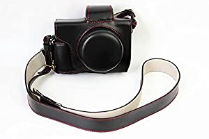 Full Protection Bottom Opening Version Protective PU Leather Camera Case Bag with Tripod Design Compatible For Olympus OM-D E-M10 Mark 2 EM10 Mark II with 14-42mm F3.5-5.6 EZ lens with Shoulder Neck Strap Belt