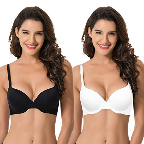 Curve Muse Womens Light Lift Add 1 Cup Push Up Underwire Convertible Tshirt Bra-2PK-BLACK,WHITE-38D