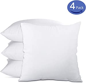 Emolli 18 x 18 Pillow Inserts Set of 4, Throw Pillow Inserts Premium Stuffer Down Alternative,Super Soft Microfiber Filled Decorative Pillow Cushion