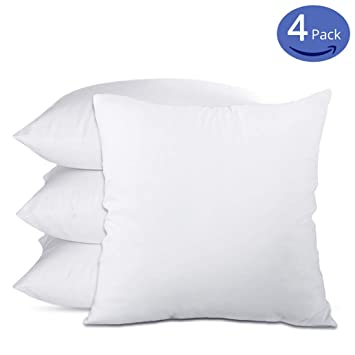18x18 Throw Pillow Insert.Emolli 18 X 18 Pillow Inserts Set Of 4 Throw Pillow Inserts Premium Stuffer Down Alternative Super Soft Microfiber Filled Decorative Pillow Cushion