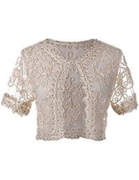 Womens Bead Beaded Crochet Short Sleeve Shrug Bolero Cropped Cardigan