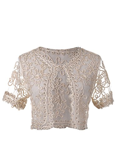 Beige Cropped Mesh Bead Crochet Embroidered Braid Short Sleeve Shrug (Crochet Embroidered Sweater)