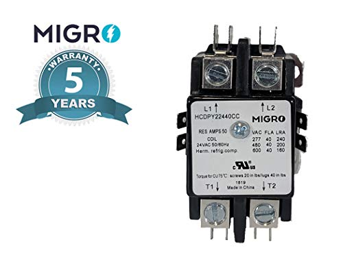 Migro 2 Pole 40 AMP Heavy Duty AC Contactor Replaces Virtually All Residential 2 Pole Models (5- Year Warranty Upgraded Increased Silver Alloy Content up to 27% (AgCdO12))