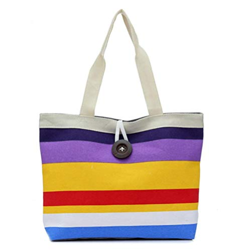 stripes Shopping Bag Tote Khaki Purple Kanpola Purse Lady Colored Canvas Shoulder Handbag pBqWWE4ywH