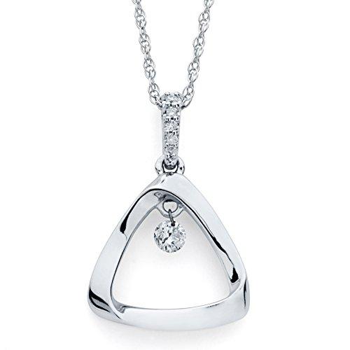 - Boston Bay Diamonds 925 Sterling Silver Dancing Diamond Triangle Pendant Necklace, 18