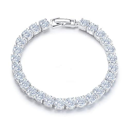SEQUITO Tennis Bracelets for Women Bracelet Cubic Zirconia Bracelet White Gold Plated Round Bracelet for Women Wedding Gift 7.0 Inches Or 8 Inches with Extended Clasp White