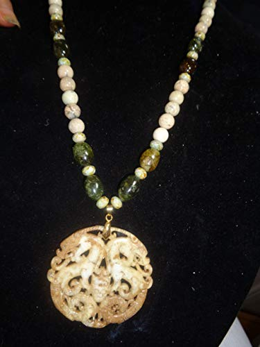 DOUBLE DRAGON, DOUBLE PHOENIX: Two Sided Extra Fine Ivory Jade Carving, Long African Ivory Opals, Green Garnet Nuggets, Chech Glass Beads, Gold