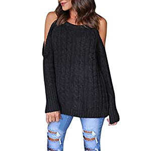 Women Tops, Gillberry Women Newest Cold Shoulder Soild Color Knitted Long Sleeve Pullovers Sweaters (Black, L)