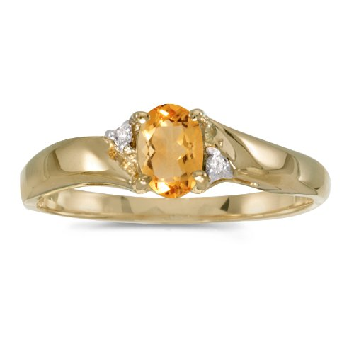 Jewels By Lux 14k Yellow Gold Genuine Birthstone Solitaire Oval Citrine And Diamond Wedding Engagement Ring - Size 8 (0.31 Cttw.)