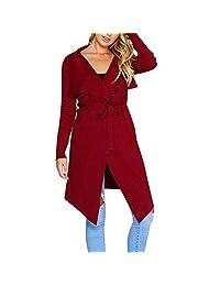 KOERIM Women's Casual Long Sleeve Drape Open Front Knit Cardigan Coat with Belt