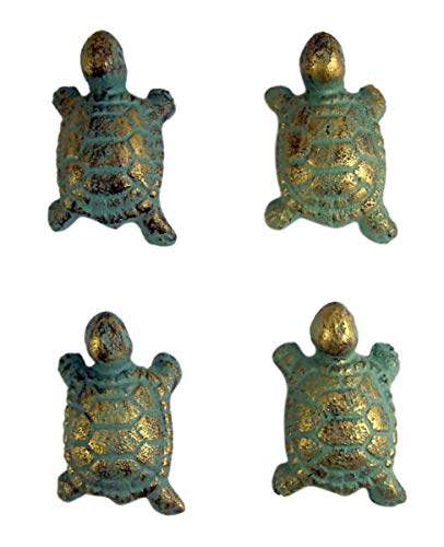 Turtle Drawer Pull - Cast Iron Verdigris Color Turtle Drawer Pull Set of 4