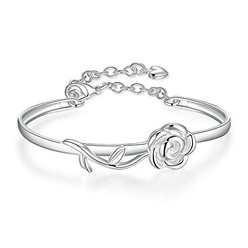 Coleman Sterling Silver Bracelet (Rose Flower Bangle Bracelet Fashion Jewelry Silver Plated Bracelet- Lacey D. Coleman)