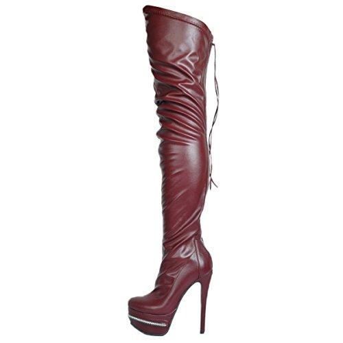 Talons Chaussures AU Genou Plate Forme EKS du Mince Bottes Dessus Femmes Sexy wSqP86g