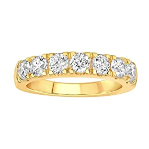 1 1/2 Carat (ctw) 10K Gold Round Cut Diamond Ladies Anniversary Wedding Stackable Band Ring (yellow-gold, 7)