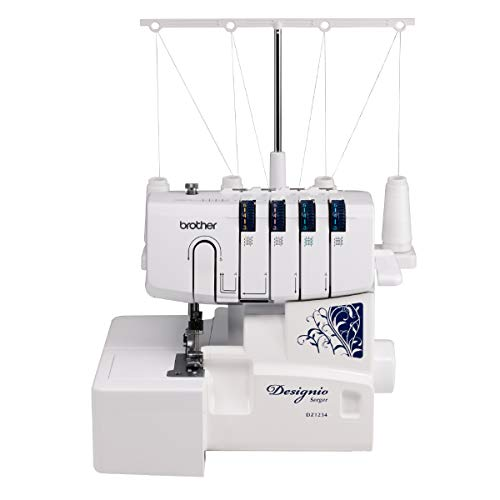 Brother Serger, DZ1234, Metal Frame Overlock Machine, 1,300 Stitches Per Minute, Removeable Trim Trap, 3 Included Accessory Feet and 2 Sets of Starter Thread