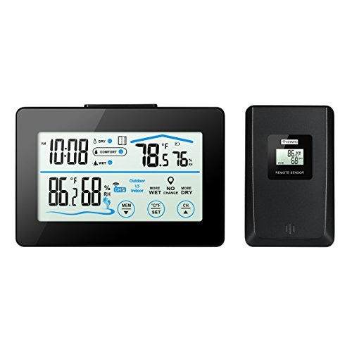 Oria Hygrometer, White Backlight Thermometer with Indoor and Outdoor Humidity Display &LCD Touch Screen