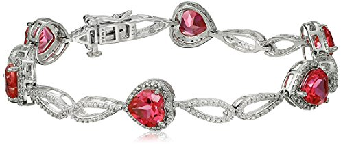 Sterling Silver Created Ruby Heart with Created White Sapphire Bracelet