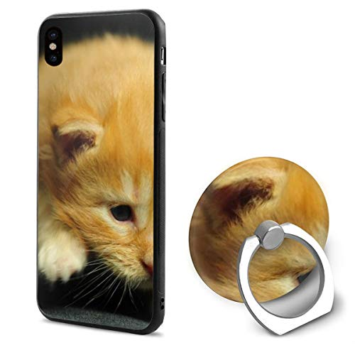 Kitten Baby Striped Walk IphoneX case with Ring Stand Soft TPU Slim Case Cover for iPhone X