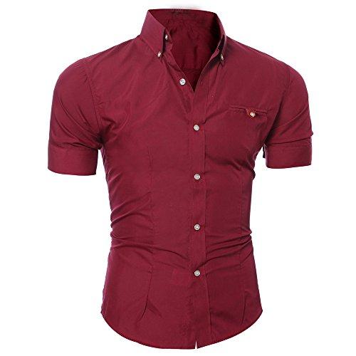 O T shirt Chemisette Courtes homme Été Boutonné Manadlian Rouge Blouse Vin Neck À Pullover Poche Manche Chemise Décontractée 3xl M qzwg8x71