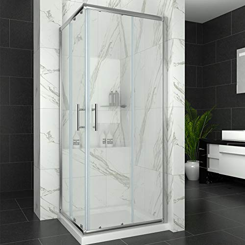 Elegant 760 x 760 mm Sliding Doors Corner Entry Shower Enclosure 6mm Extra  Toughened Safety Glass Screen Cubicles