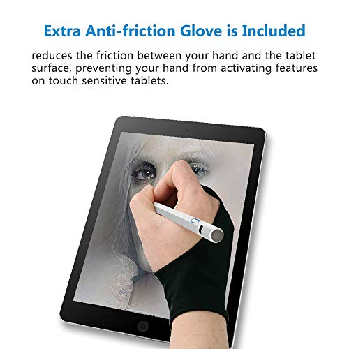 [2nd Gen] Stylus Pen with Glove, Homagical 1.5mm Fine Point Active Stylus Pen Rechargeable Capacitive Stylus for Touch Screen Devices, Ideal for Drawing and Writing (White) by Homagical (Image #4)